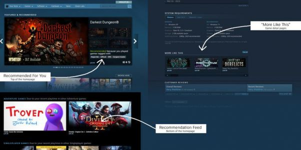 Steam recommendations now show less bias towards popular games