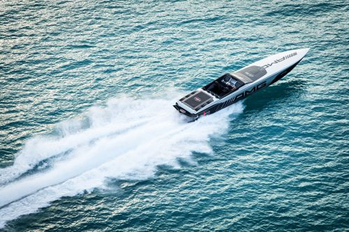 Riding in the Mercedes-AMG Cigarette Racing 515 Project One boat at 119 mph
