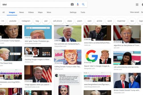 Online activists flood Google search results for 'idiot' with images of Trump