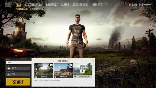 PlayerUnknown's Battlegrounds to get a map selector