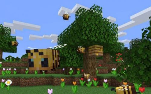 Minecraft Java Edition update adds friendly bees, hives, and honey