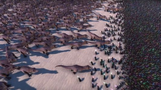 Watch 20,000 Jedi Knights Battle 3,000 T-Rex's in This Ridiculously Fun Simulation