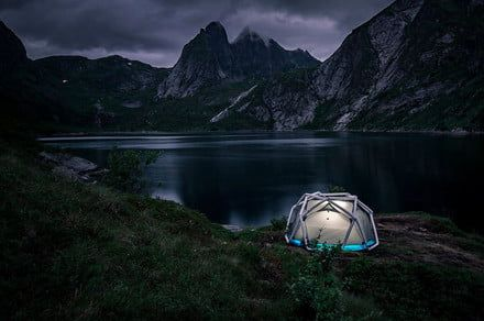 Camping in extreme conditions is easier with this inflatable geodesic tent