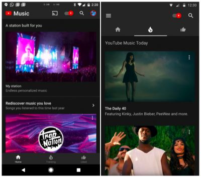 YouTube Music Testing Bottom Navigation in its Android App
