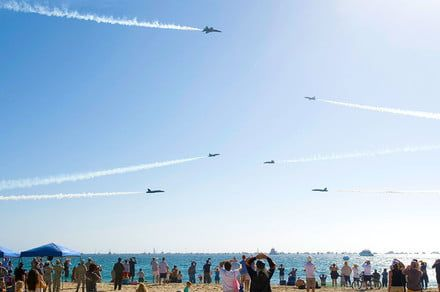 Death-defying daredevils at a Breitling air show blew over a million minds