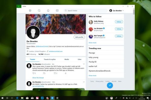 Twitter PWA for Windows 10 now lets you pin profile tiles to Start