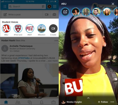 """LinkedIn launches its own Snapchat Stories: """"Student Voices"""""""