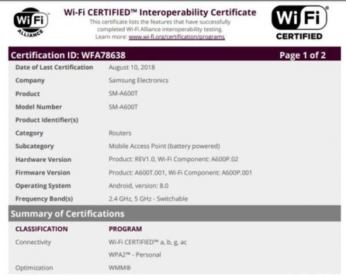 Samsung Galaxy A6 Coming To T-Mobile, Certificate Suggests