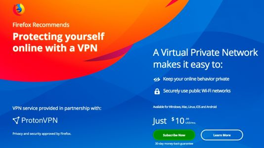 Mozilla begins promoting premium VPN service within Firefox