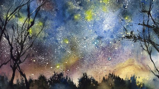 Three steps to a sparkling night sky in watercolour