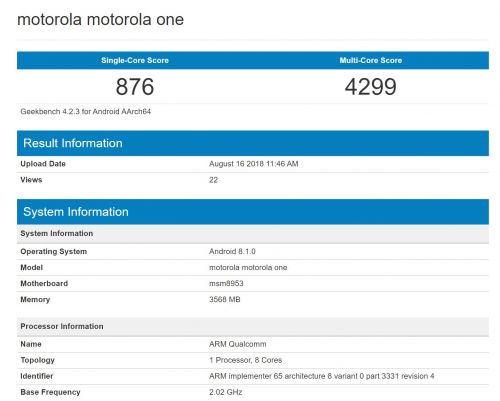 Motorola One Benchmarked With Android 8.1, Specs Revealed