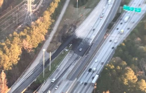 Truck hauling printer ink crashes, spilling untold riches onto Atlanta freeway