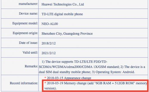 Huawei Smartphone With 512GB Of Storage Gets Certified
