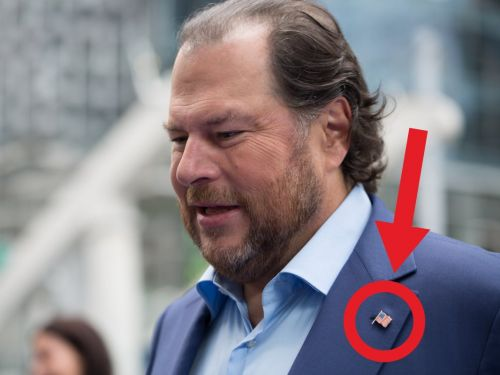Marc Benioff's unusually patriotic fashion statement at a big Salesforce event is raising eyebrows