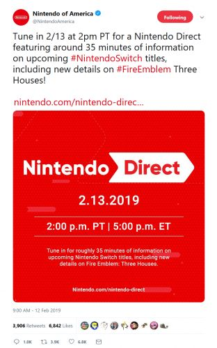 Nintendo Direct Arriving Tomorrow