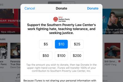 Apple is now taking donations for the Southern Poverty Law Center through iTunes