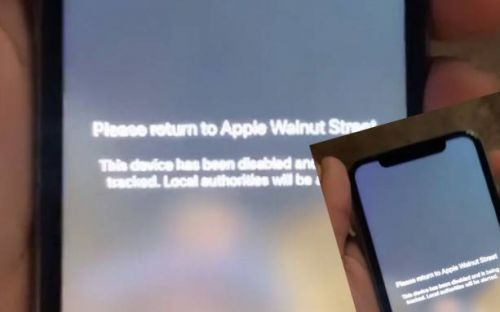 Looted iPhones show this message after Apple Store theft