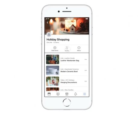Facebook makes saved Collections shareable for holiday gift giving