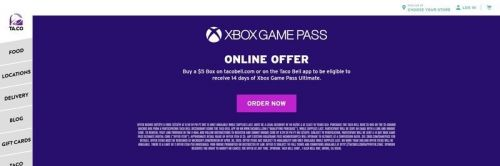 Microsoft and Taco Bell offer up to 44 days of Xbox Game Pass
