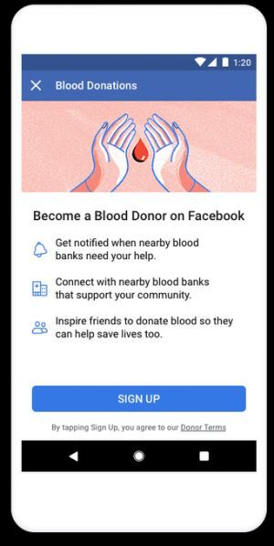 Facebook's Blood Donations feature arrives in U.S., will alert donors in times of need