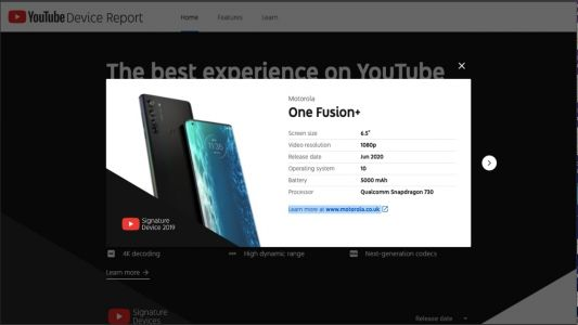 Motorola One Fusion Plus spotted on Youtube device report
