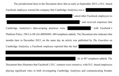 Facebook staff raised concerns about Cambridge Analytica in September 2015, per court filing