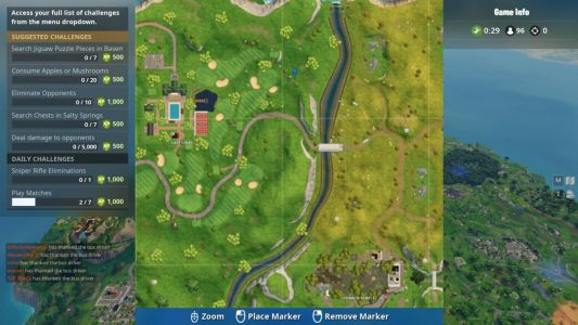 Fortnite Location: Search Between Covered Bridge, Waterfall, 9th Green