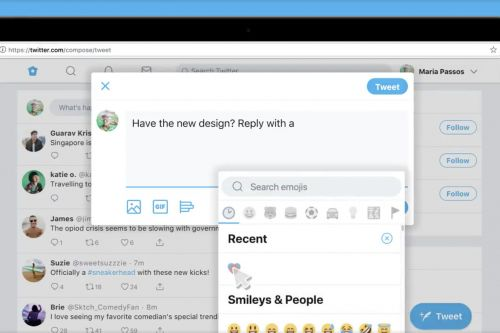 Twitter is rolling out a new web interface, including an emoji button