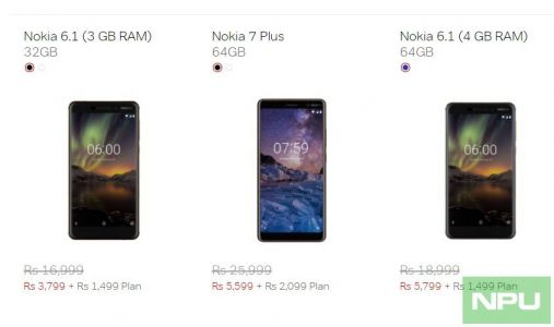 Nokia 6.1, 7 Plus & 8 Sirocco available at discounted pricing with Airtel Plans