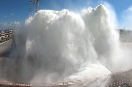 Watch the moment NASA releases 450,000 gallons of water onto a launch pad