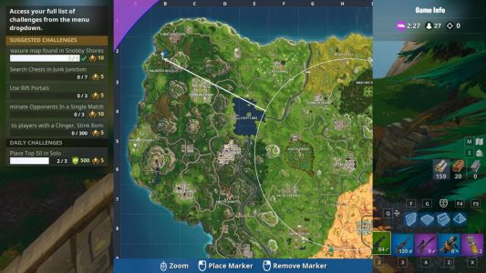Fortnite Challenge: Snobby Shores Treasure Map, Using Rift Portals