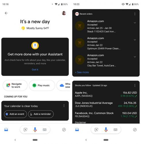 Google Assistant begins receiving dark mode cards