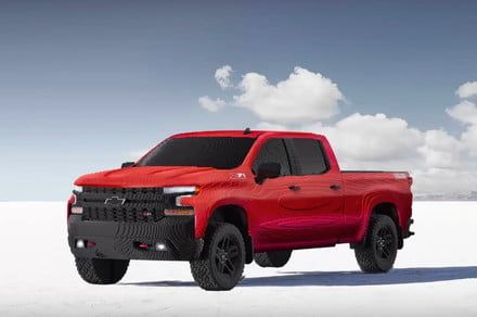 This Chevy Silverado pickup truck is made from more than 300,000 Lego bricks