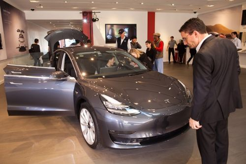 Tesla Model 3s now on display at San Jose's Santana Row and in Walnut Creek