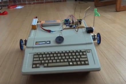 Engineer turns his old Apple lle into an wheeled robot, and even gives it a sword