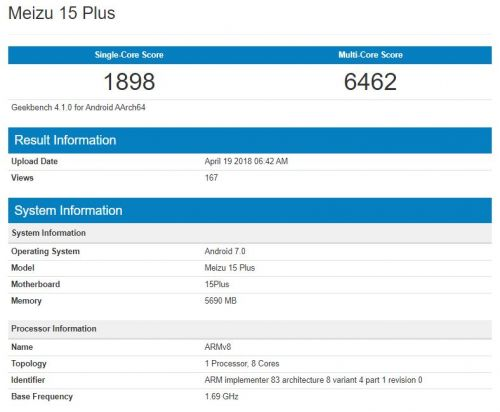 Meizu 15 Plus Visits Geekbench With Android 7.0 & 6GB Of RAM