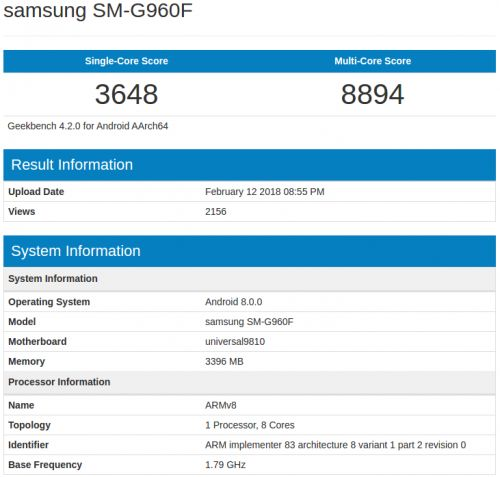 Galaxy S9 Appears On Geekbench With 4GB Of RAM, Exynos 9810