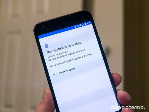 In Oreo, the button to check for Android updates now actually checks for updates