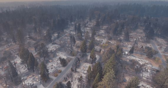 Drone footage offers a peek at the devastating effects of California's wildfires