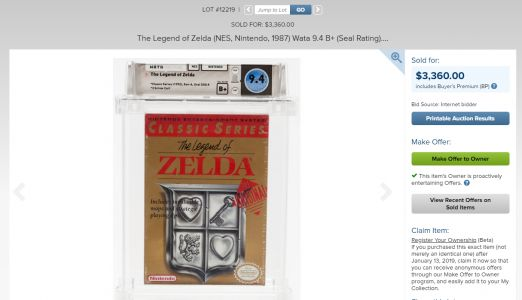 A Copy of LEGEND OF ZELDA Fetches $3,360 At Auction