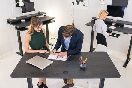 The NookDesk offers three levels of workspace and one-touch adjustments
