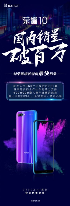 Over 1 Million Honor 10 Units Sold In China Thus Far