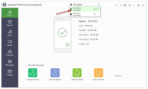 How to Transfer Data from Android to iPhone with Apeaksoft MobieTrans