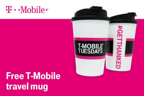 T-Mobile customers can get two free T-Mo travel mugs next week: one for them, one for a friend