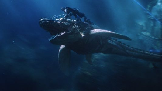 New Photo From AQUAMAN Shows King Orm Epically Riding a Tylosaur Sea Creature