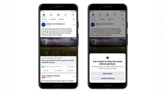 Facebook tests prompt to stop people sharing articles they haven't read