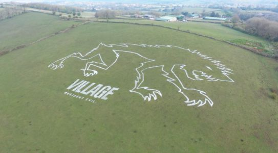 Capcom celebrates Resident Evil Village's launch by drawing a werewolf on the side of a Somerset hillside