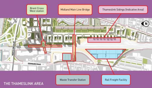 Construction starts of a railway footbridge at Brent Cross West station