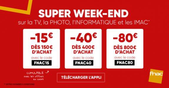 Fnac:  des remises TV, Photo, PC & iMac tout le weekend