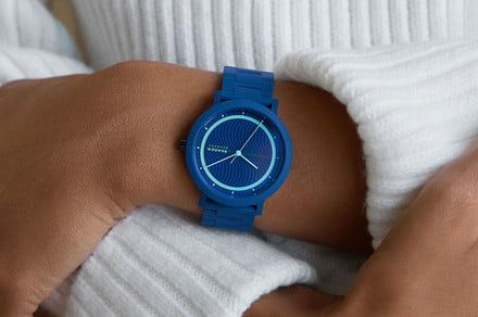 Skagen's Aaren Ocean watches are made with recycled plastics pulled from the sea